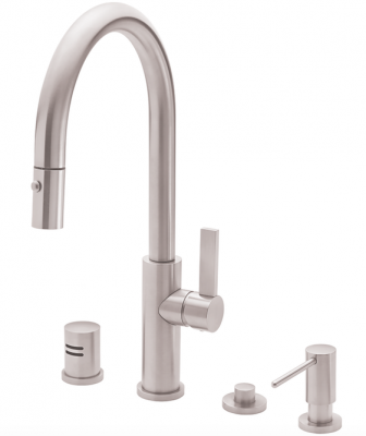 Featuring solid brass construction, the Corsano faucet combines the best elements of Italian design—clean, streamlined lines. It has a high-arc spout, a blade handle, and an ergonomic pull-down spray head. A magnetic dock allows for easy return, and users can seamlessly toggle between single-stream and spray modes. The faucet can be customized in the company's selection of more than 30 finishes, including 15 PVD options.