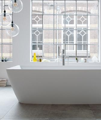 Duravit DuraSquare collection freestanding tub-room shot
