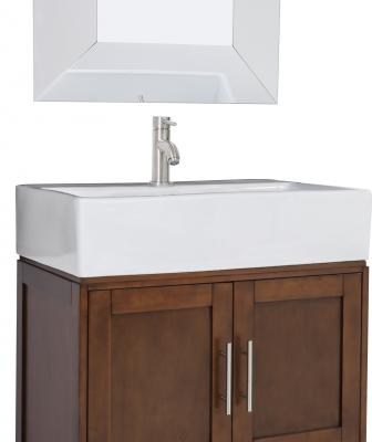 Part of the Jeffrey Alexander collection, the York Vessel vanity features a large two-door cabinet and bottom drawer for storage. It measures 28 inches wide, 18¼ inches deep, and 36 inches tall. The product comes with an oversized vessel bowl/top cut for a single-hole faucet, coordinating glass mirror, and satin nickel hardware. It is available in chocolate and espresso finishes.