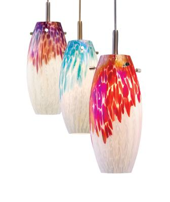 The manufacturer's LED pendant lines now feature more than 100 glass shades with dedicated 14-watt lamps and 1100 lumens, including the Karen series. It features warm 3500K and 90+ color rendering index for realistic color rendition. The 4½-inch-diameter fixture measures 9½ inches long and has a frosted glass shield for even light distribution. Karen has a white shade with a choice of highlight colors, including aqua, plum, red, green, and white on white