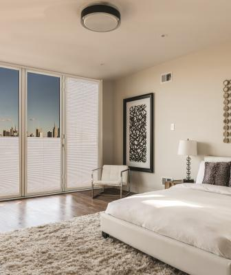Nanawall Shades in a bedroom
