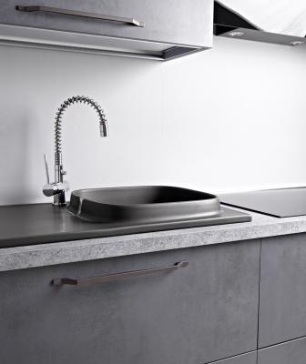 Scarabeo UP ceramic gray sink