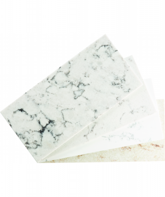 The Cascina Collection quartz features soft veining and rich undertones that mimic Carrara marble. It is non-porous, is resistant to stains, and comes in four white hues.