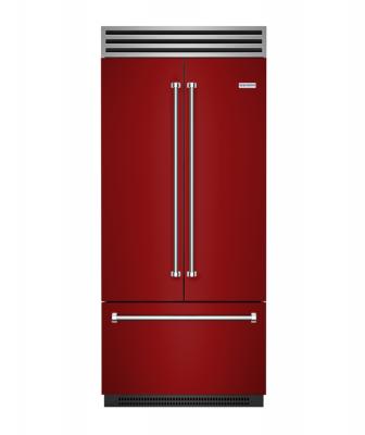 BlueStar red french-door refrigerator