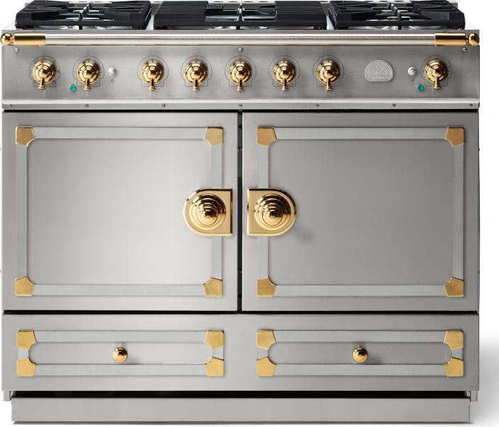 Lacornue cornufe 110 dual fuel range stainless steel with stainless steel polished brass trim