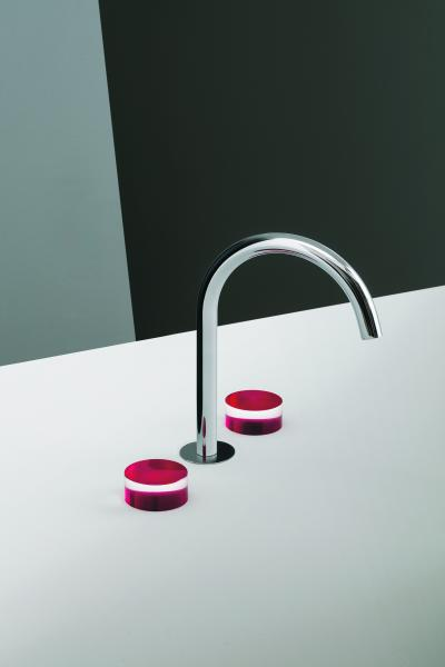 Fantini Nice Collection three hole deck mount faucet red