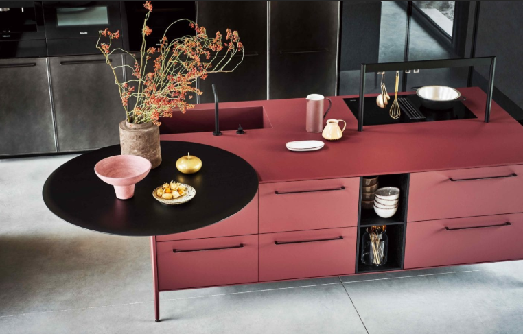 Cesar NYC Unit Kitchen Red Fenix Island Table