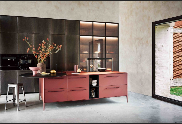 Cesar NYC Unit Kitchen Red Fenix HERO