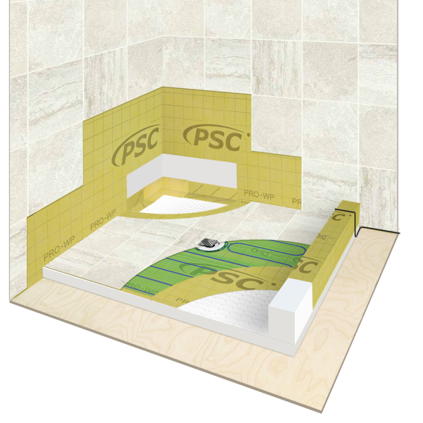 WarmlyYours Shower Waterproofing and Floor Heating Kit Install Cross Section