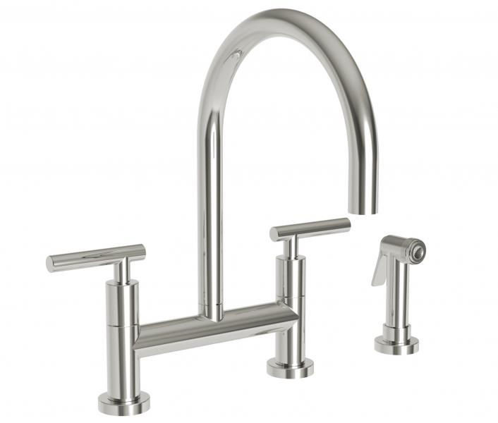 Newport Brass East Linear Bridge Faucet with side spray silo