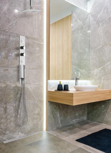 Lenova Thermostatic Pressure Balance Shower Valve Bath installation shower oak vanity marble tile walls