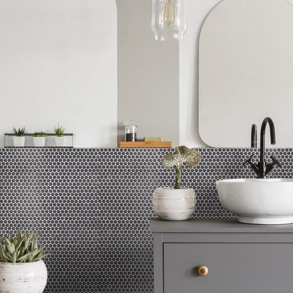 The home depot dark gray jeffrey court mosaic tile