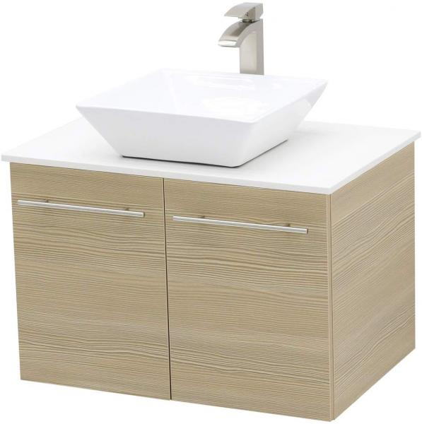 WindBay 30 inch Wall Mount Floating Bathroom Vanity Sink white stone top