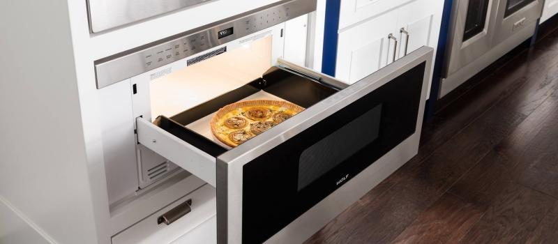 Wolf Pro microwave drawer open