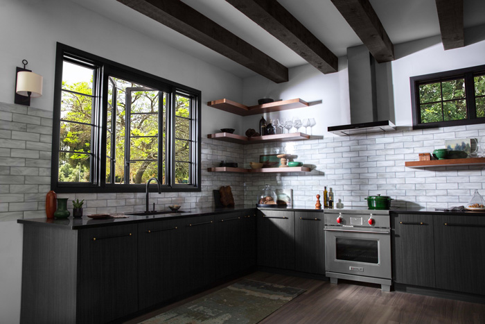 Weather shield french push out window kitchen