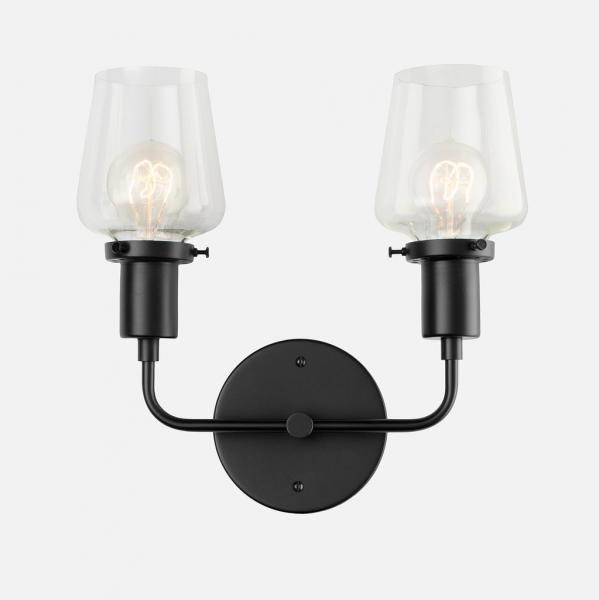 9 Schoolhouse Electric Abrams Double Sconce Black silo
