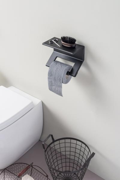 ThermoMat Italy Toilet Paper Grab Bar Black