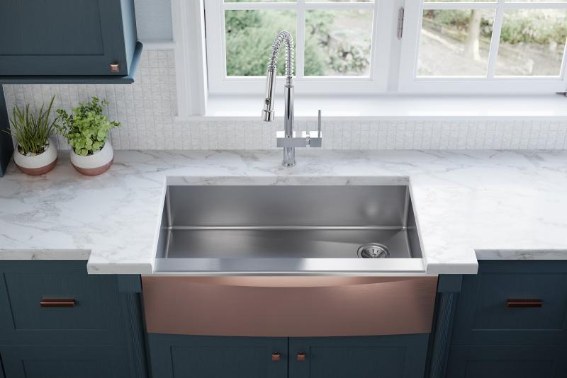Elkay Crosstown Apron-Front sink in rose gold