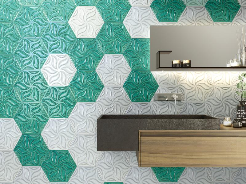 Realonda Ivy relief tile in teal and mist