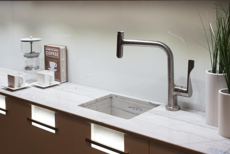 "Hansgrohe Critterio faucets and fixtures were used in the ""Making Room"" kitchen"