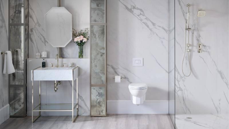 Wall hung traditional toilet marble