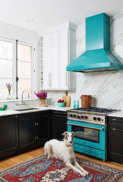 BlueStar kitchen hood and oven teal