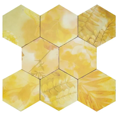 Hexagon yellow wall floor tile