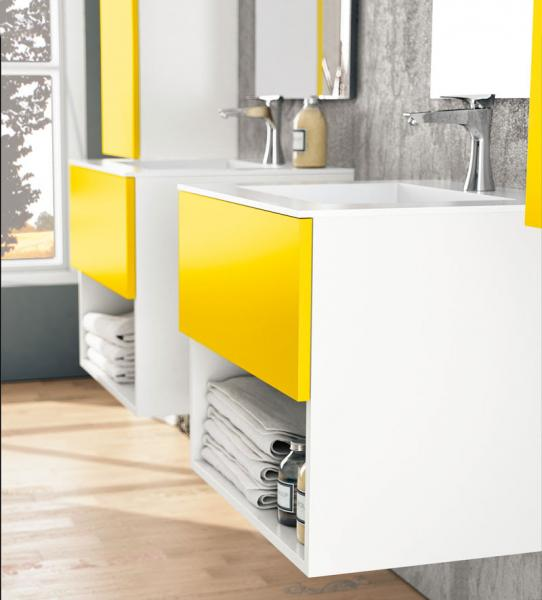 Yellow wall mount vanity